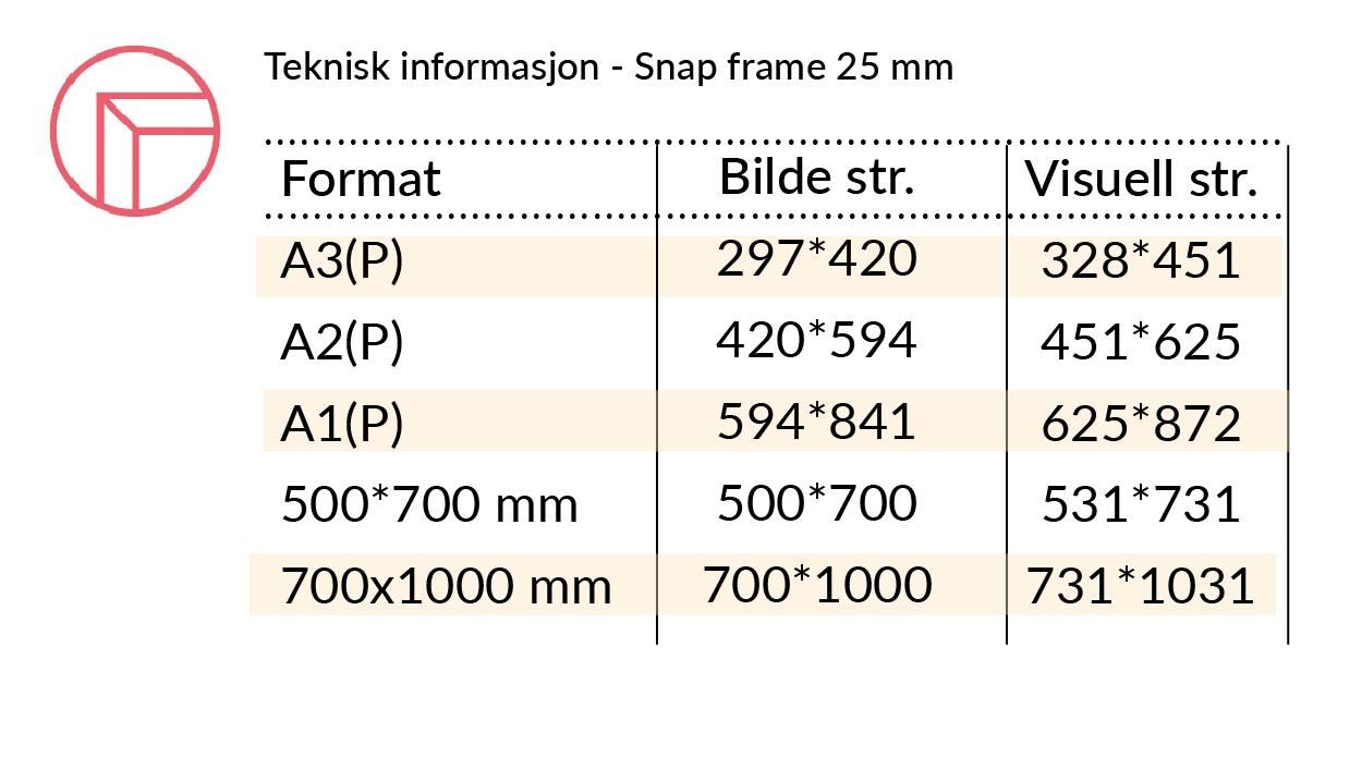 Teknisk infoSnap frame 25 mm rette hjorner