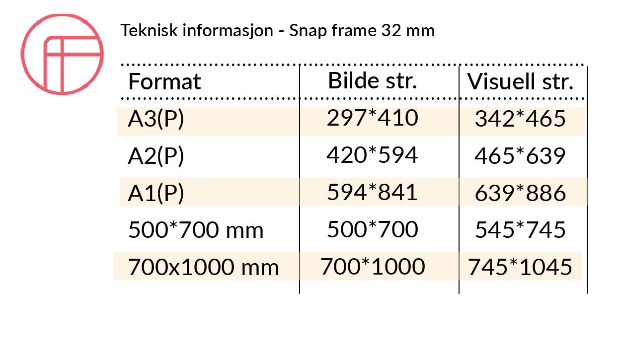 Teknisk infoSnap frame 32 mm buede hjorner