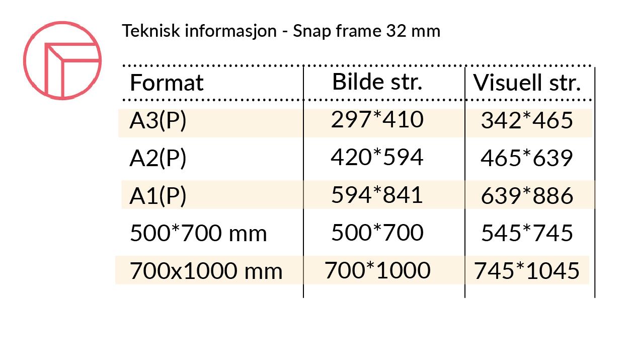 Teknisk infoSnap frame 32 mm rette hjorner